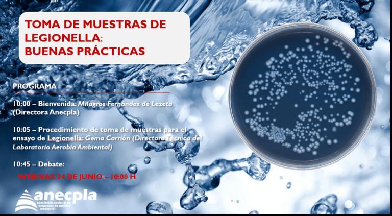 Aerobia imparte un webinar para asociados de Anecpla sobre Toma de Muestras para el Ensayo de Legionella: Buenas Prácticas